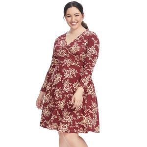 1X 2X EFFIE'S HEART RED FLORAL SARAH wrap DRESS